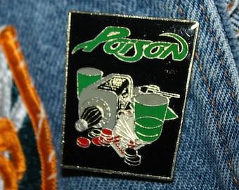 Lot of 10 * NOS vtg 80s 1989 licensed POISON enamel pin * for shirt jacket hat glam metal