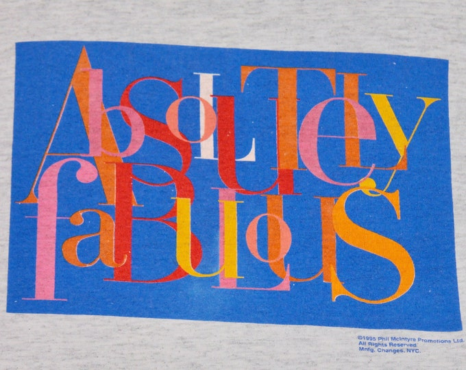 M/L * vtg 90s 1995 Absolutely Fabulous tv show t shirt * movie bbc * medium large * 97.7