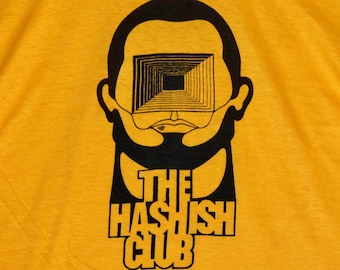 S * NOS vtg 70s 1975 The Hashish Club broadway play t shirt * hash marijuana psych psychedelic * 96.1