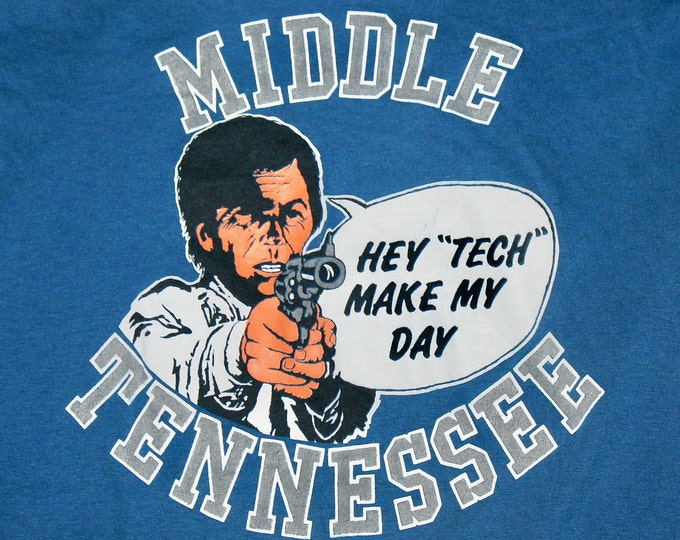 M * thin vtg 80s MTSU t shirt * middle tennessee state university blue raiders * 60.133