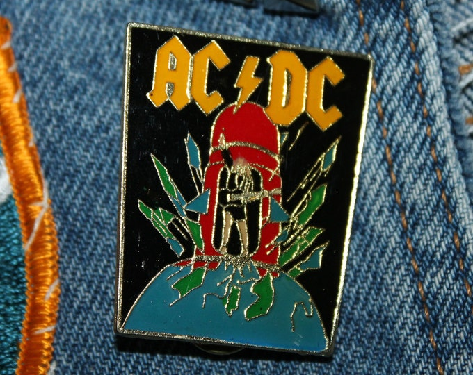 NOS vtg 80s 1988 licensed AC/DC enamel pin * for shirt jacket hat