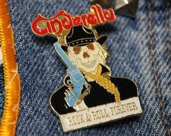 NOS vtg 80s 1988 licensed CINDERELLA enamel pin * for shirt jacket hat glam metal
