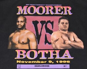 L * vtg 90s 1996 Moorer v Botha boxing t shirt * michael frans * 64.146