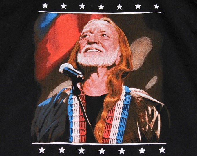 M * NOS vtg 90s Willie Nelson american icon t shirt * classic country * 96.4