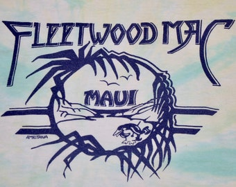 M/L * vtg 80s Fleetwood Mac production crew tour t shirt * medium large * 5.135