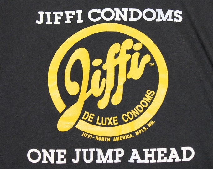 XL * vtg 80s/90s Jiffi Condoms t shirt * 98.21 sex condom