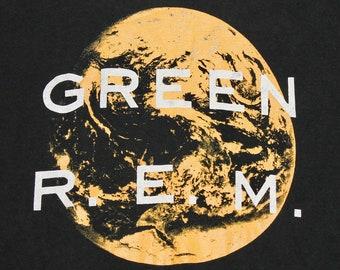 L * vtg 80s 1989 R.E.M. green t shirt * rem * 98.4