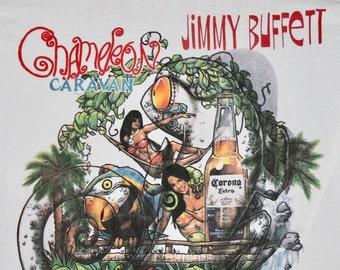 L * vtg 90s 1993 Jimmy Buffett chameleon caravan tour t shirt * 13.152
