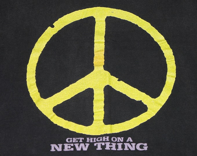 L * vtg 80s 1989 Enuff Z'Nuff get high on a new thing t shirt * peace sign glam metal z nuff * 106.11