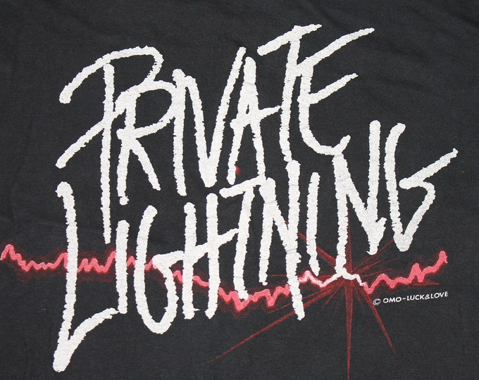 S * vtg 1980 Private Lightning s/t album listening party Boston t shirt * a&m records * 61.134