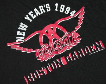 M * vtg 90s 1994 New Years Boston AERSOSMITH concert t shirt * 28.155