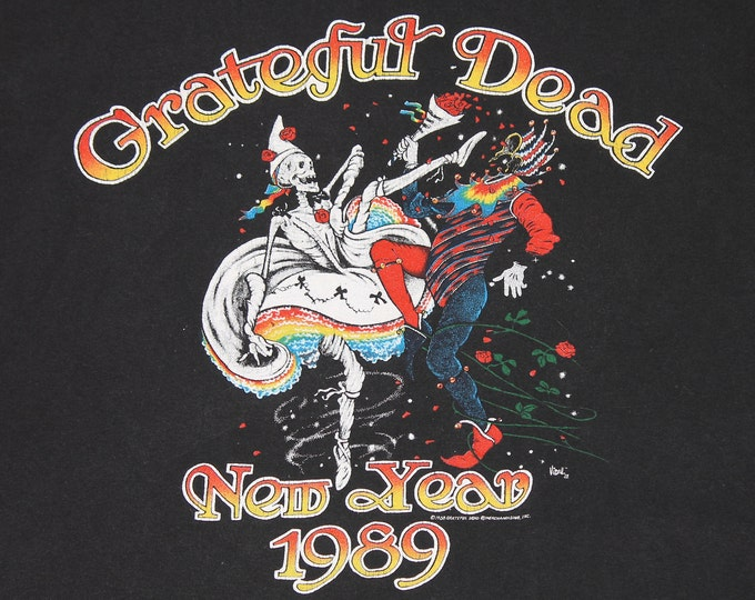 L * vtg 80s 1989 Grateful Dead new year Oakland Ca concert t shirt * tour 35.136