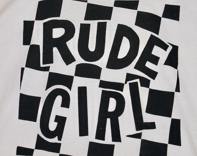 L * NOS vtg 90s Rude Girl ska t shirt * 2 tone punk * 99.13