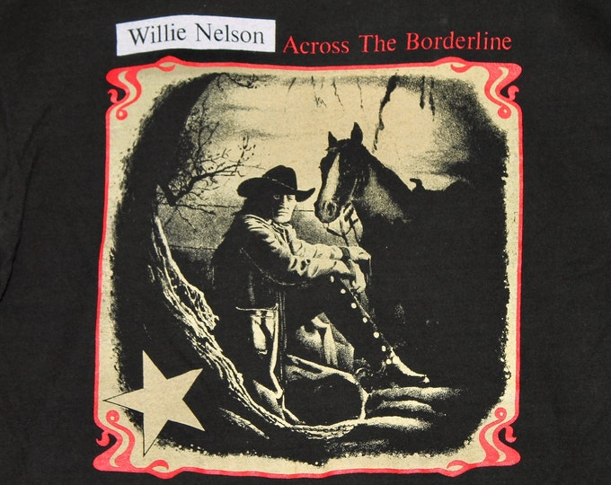 M/L * vtg 90s 1993 Willie Nelson across the borderline t shirt * medium large