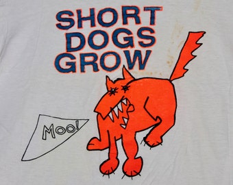 S * vtg 80s Short Dogs Grow t shirt * bay area punk alt * 36.156