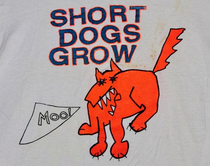 S * vtg 80s Short Dogs Grow t shirt * bay area punk alt * 36.156