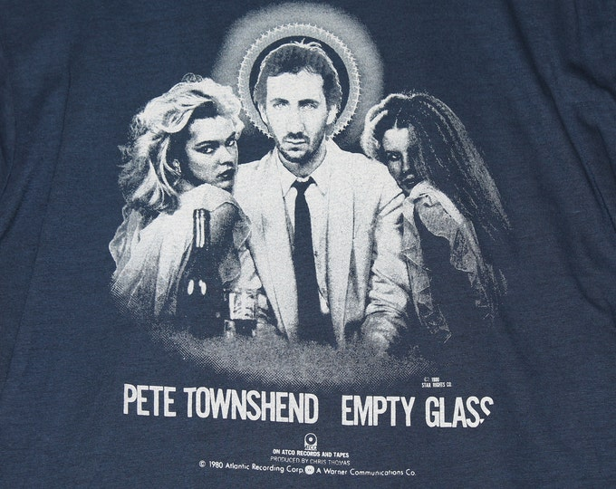 L * NOS vtg 1980 Pete Townshend empty glass promo t shirt * the who * 81.132