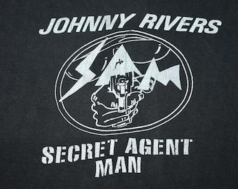 S * vtg 60s/70s Secret Agent Man Johnny Rivers muscle t shirt * 30.148