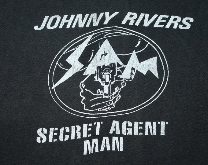 S * vtg 60s/70s Secret Agent Man Johnny Rivers muscle t shirt * 30.148