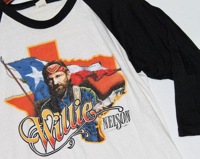 M * vtg 80s 1984 Willie Nelson raglan t shirt jersey * 94.55