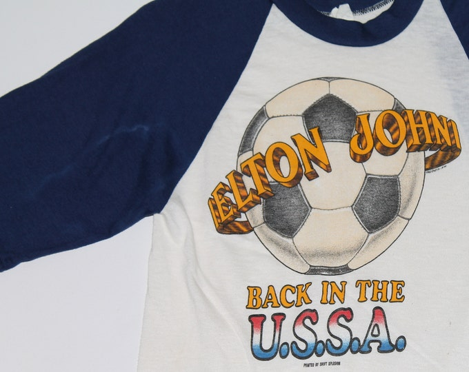 2XS * vtg 70s 1979 Elton John Back In The USSA tour raglan t shirt * soccer * 45.171