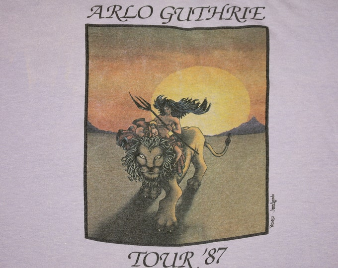 L * thin vtg 80s 1987 Arlo Guthrie tour t shirt * 63.179 folk
