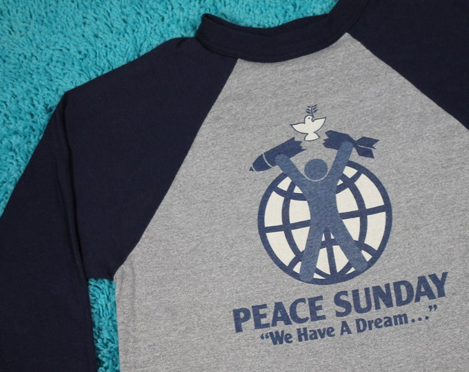 S * NOS vtg 80s 1982 Peace Sunday raglan concert t shirt * stevie nicks wonder jackson browne linda ronstadt still nash tour * 108.31