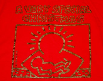 L/XL * vtg 80s 1987 Keith Haring very special christmas comp long sleeve t shirt * 105.18