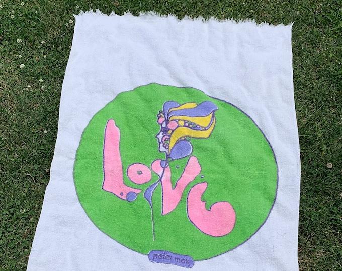 vtg 60s Peter Max beach towel * art mod psych hippie wall hanging