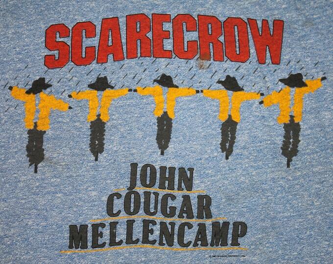 M * thin vtg 80s 1985 John Cougar Mellencamp scarecrow heather blue ringer t shirt * tour * 35.138