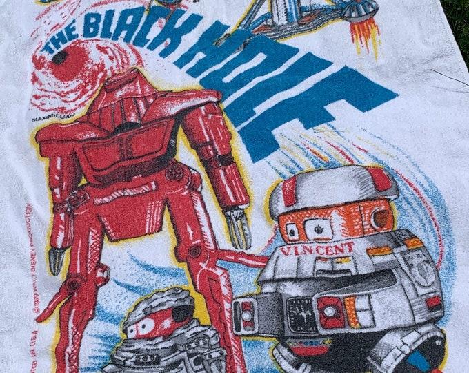 vtg 70s 1979 The Black Hole Disney movie beach towel * scifi robot space