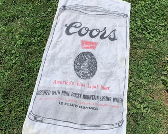 vtg 70s Trucker Coors Banquet Beer beach towel * wall hanging * 88.78