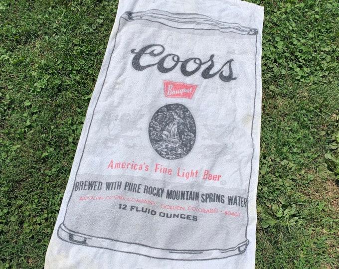 vtg 70s Trucker Coors Banquet Beer beach towel * wall hanging * 88.78