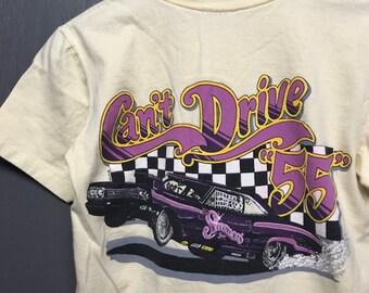 XS vtg 80s 1988 Can't Drive 55 drag racing t shirt