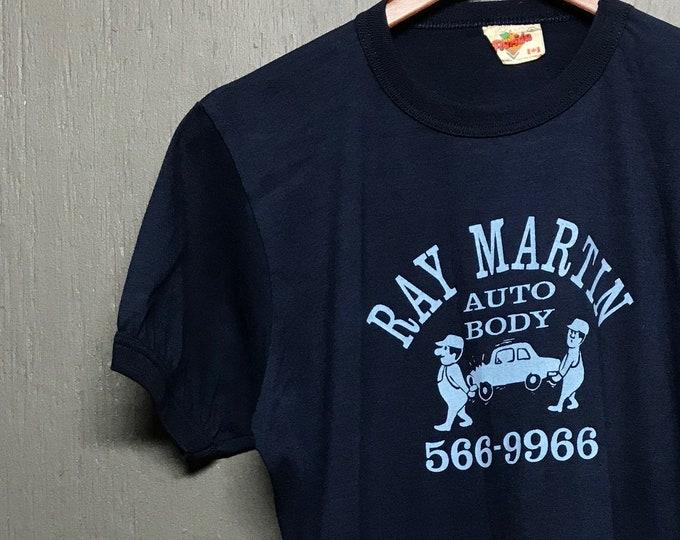 M vtg 80s Auto Body Ray Martin ringer t shirt