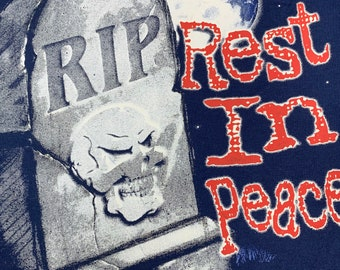 XL * nos vtg 90s Rest In Peace t shirt * skull horror * 78.128