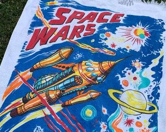 vtg 70s Space Wars beach towel * scifi alien movie planets