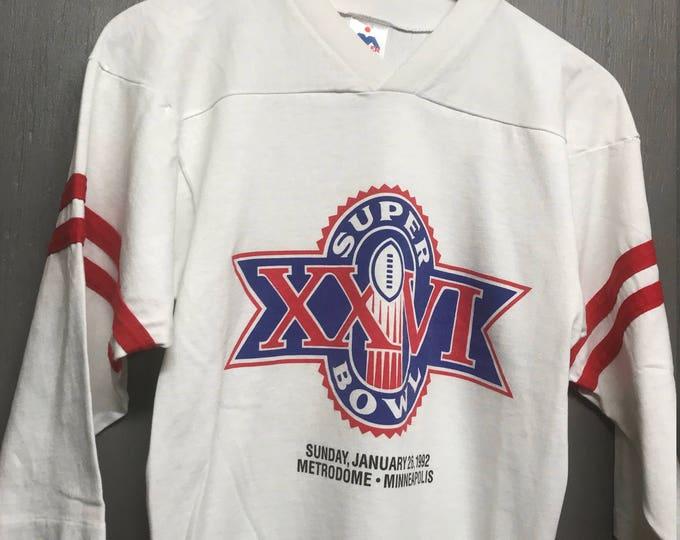S vintage 90s 1992 Super Bowl XXVI t shirt jersey