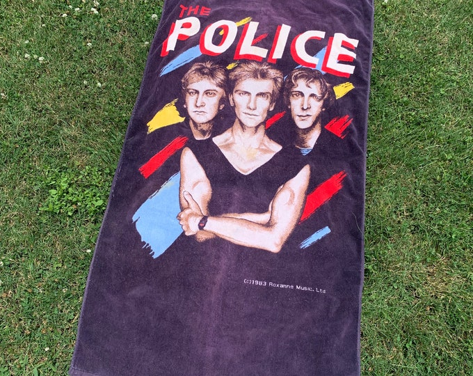 vtg 80s 1983 The Police band beach towel * sting tour stewart copeland andy summers