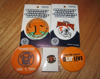 Lot of 5 vtg 90s Tennessee Vols pins * pin volunteers football button * V5 * for shirt hat jacket