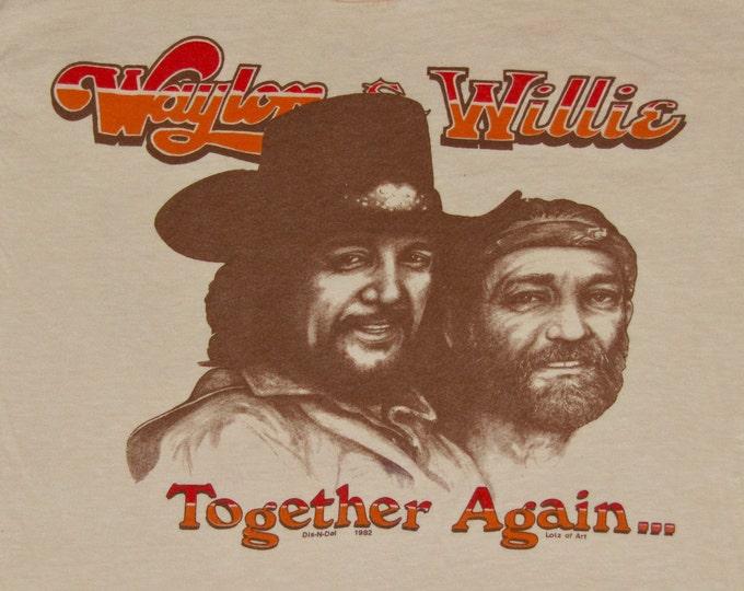 XS * NOS thin vtg 80s 1982 Waylon & Willie together again t shirt * jennings nelson * 40.156