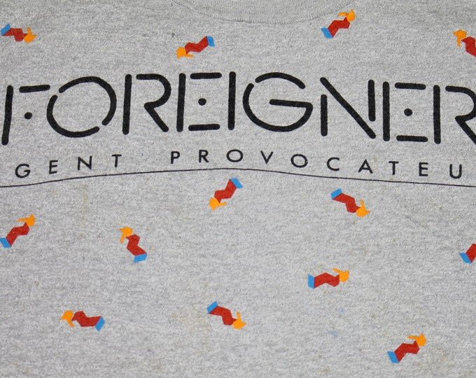 S/M * vtg 80s 1985 FOREIGNER agent provocateur tour t shirt * small medium * 58.159