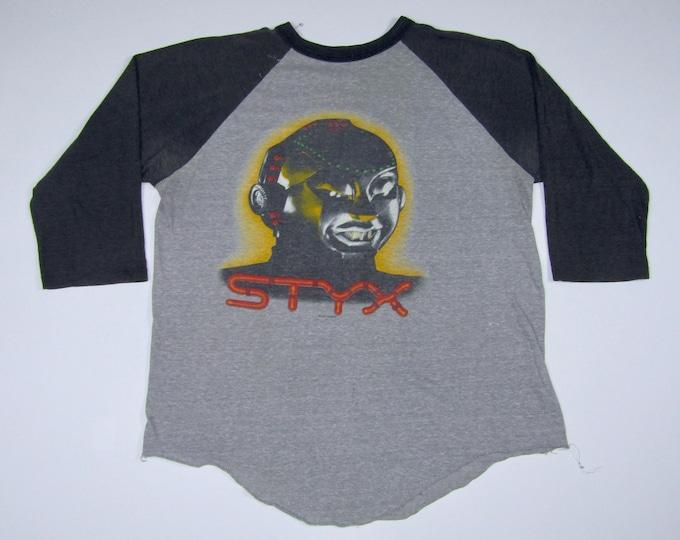 L * thin vtg 80s 1983 STYX kilroy was here raglan tour t shirt * 6.175