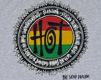 XL * NOS vtg 90s 1992 The Soup Dragons hotwired 2 sided t shirt * divine thing alt rock * 39.184