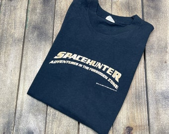 S * vintage 80s 1983 SPACEHUNTER movie promo muscle t shirt * glow in the dark scifi adventures in the forbidden zone vhs * 67.128