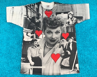 XL * vtg 90s I love Lucy all over print t shirt * tv show lucille ball * 37.143