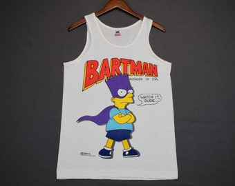 S * NOS vtg 80s 1989 Bart Simpson Bartman tank top t shirt * the simpsons tv show cartoon  * 54.176