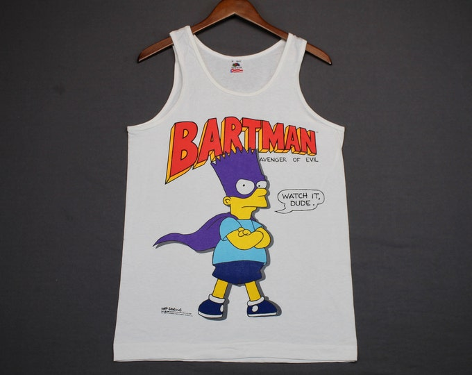 M * NOS vtg 80s 1989 Bart Simpson Bartman tank top t shirt * the simpsons tv show cartoon  * 56.149