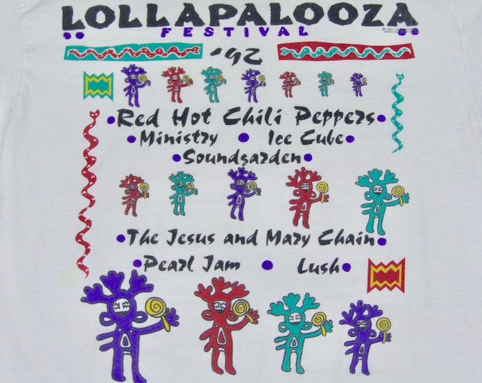 L * vtg 90s 1992 Lollapalooza tour t shirt * soundgarden red hot chili peppers ministy ice cube jesus and mary chain pearl jam lush * 72.147