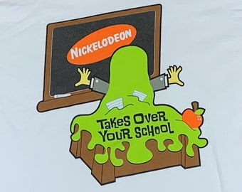 S * nos vtg 90s Nickelodeon takes over your school t shirt * 33.169
